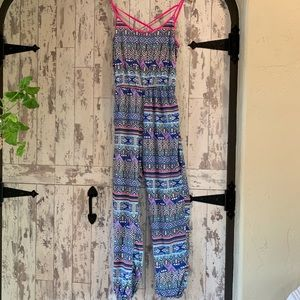 Summer printed flowy jumpsuit w/adjustable straps